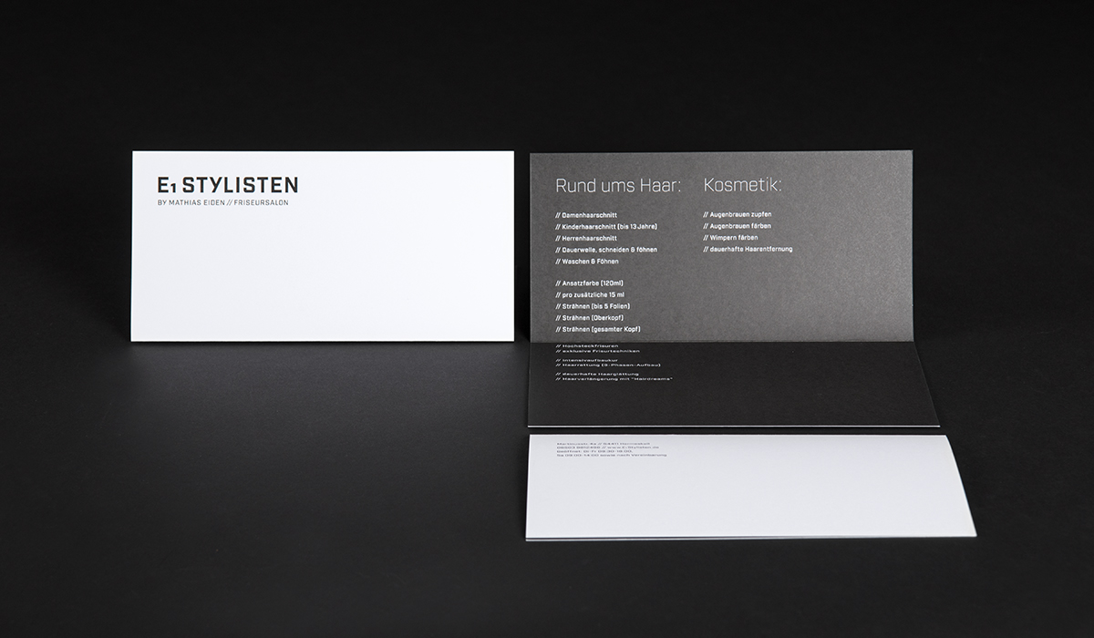 Corporate Design/ Konzeptarbeit /Brand Design / Handzettel// E1 Stylisten Hermeskeil/ KERSTIN MICHELS – DESIGN/ Designagentur/ Werbeagentur/Grafikdesign/ Kommunikationsdesign/ Hochwald/ Trier/ Rheinland-Pfalz/ Werbung/ Design